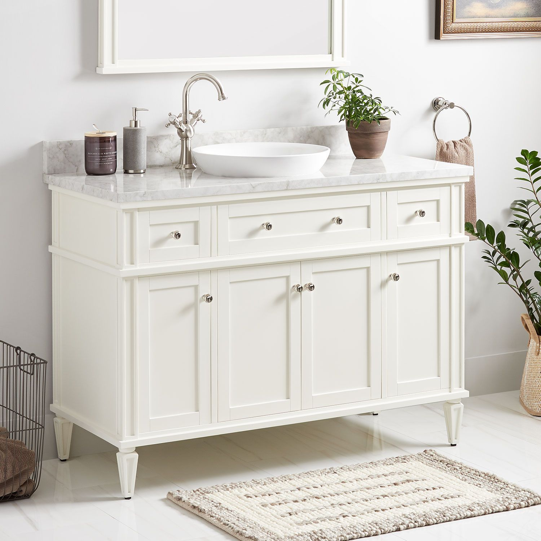 48 Elmdale Vanity For Semi Recessed Sink White In 2021 Vanity Sink White Vanity Bathroom Bathroom Vanity [ 1500 x 1500 Pixel ]