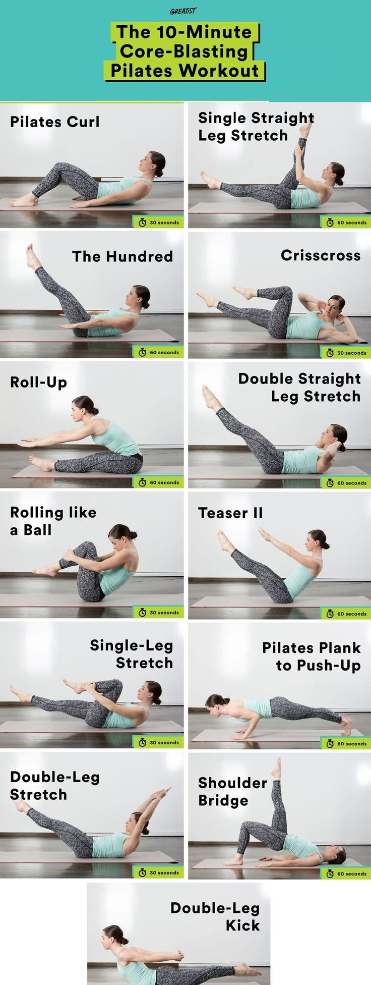 10 Minute Core-Blasting Pilates Workout #pilatesworkoutroutine