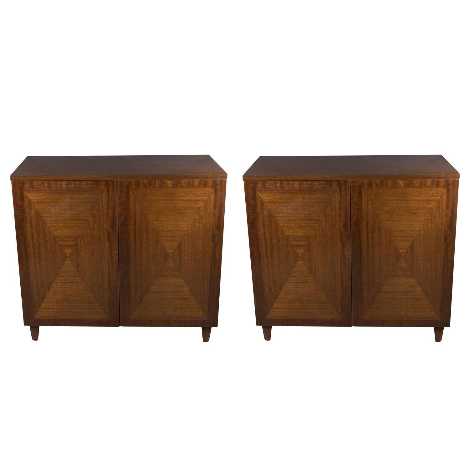 Pair Of Parqueted Book Matched Walnut Cabinets By John Stuart Inc, Circa  1960s