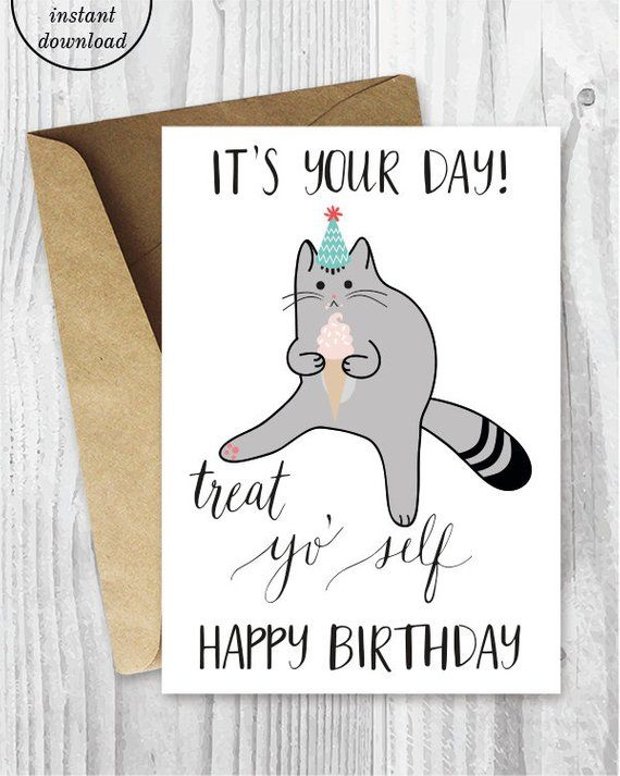 picture about Cat Birthday Card Printable named Printable Birthday Playing cards, Take care of Yo Self Humorous Cat Birthday
