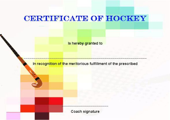 Hockey Certificate Template Word Hockey Certificate Templates - certificate template word