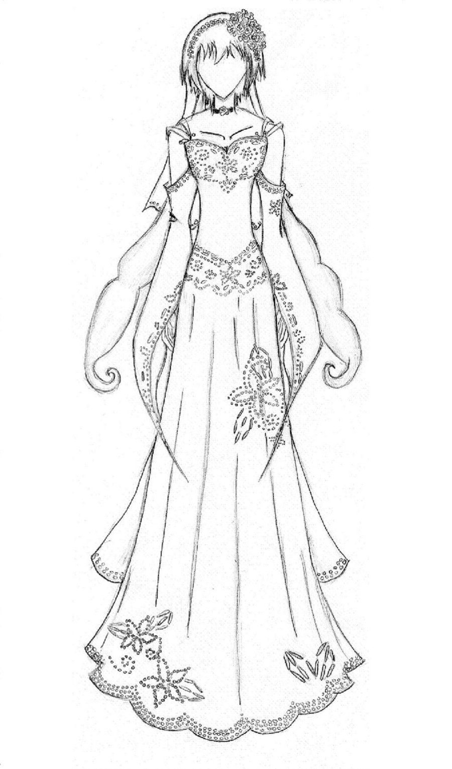 anime manga clothes | Wedding dress coloring pages - Coloring Pages ...