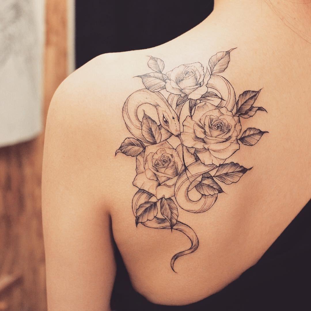 Snake Flower Tattoo: #snake#snaketattoo#rose#rosetattoo#flowe#flowertattoo