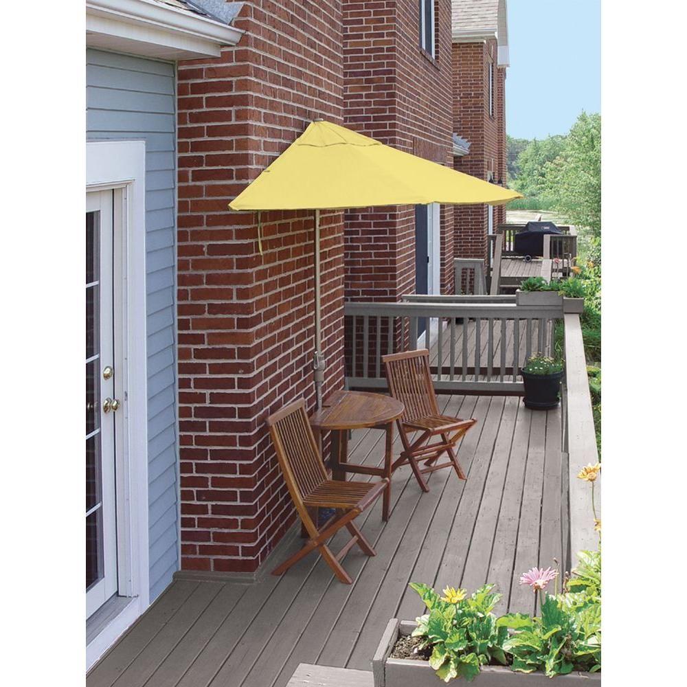 Blue Star Group Terrace Mates Caleo Economy 5-Piece Patio Bistro Set with 7.5 ft. Yellow Sunbrella Half-Umbrella
