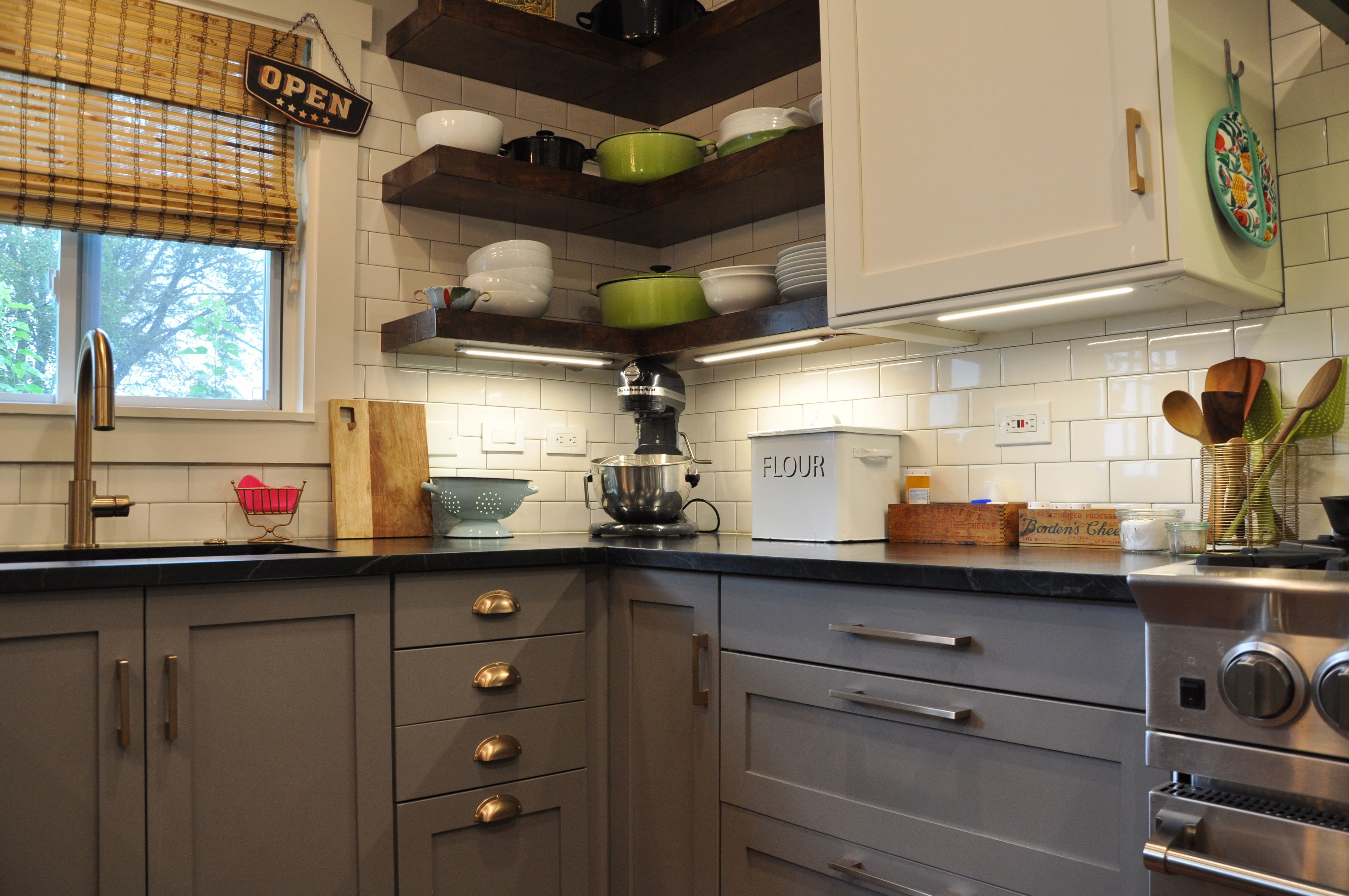 The Open Shelving Was Custom Built By Stacey S Husband To Hold Maximum Weight Stacey Wanted To Open Kitchen Shelves Kitchen Trends Kitchen Inspiration Design