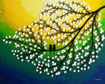 Birds on tree Art Print Love birds Wall Art Blue by SKArtzGallerE & Birds on tree Art Print Love birds Wall Art Blue by SKArtzGallerE ...