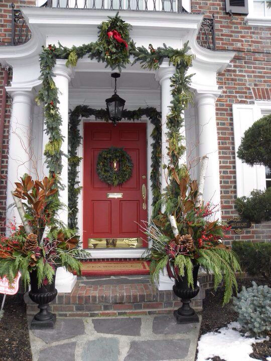 Georgian home front door decorated for Christmas with wreath and garland - Welcome Home. Georgian Home Front Door Decorated For Christmas With