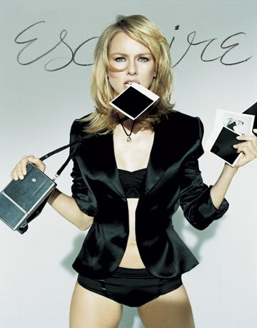 Naomi Watts with a Polaroid SX70 by Sheryl Nields for Esquire