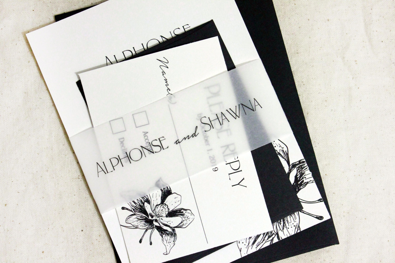 Modern Wedding Invitations, Elegant black invitation sets, floral ...