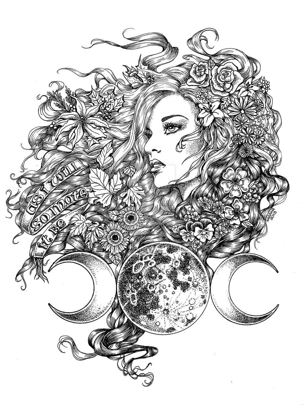 This Drawing Is A Representation Of The Triple Moon Goddess The Seasons Are Reflected Throughout Her Hair Autumn Leaves S Goddess Tattoo Wiccan Tattoos Art