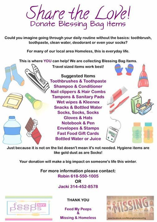 donate blessing bag items or make your own to hand out click on