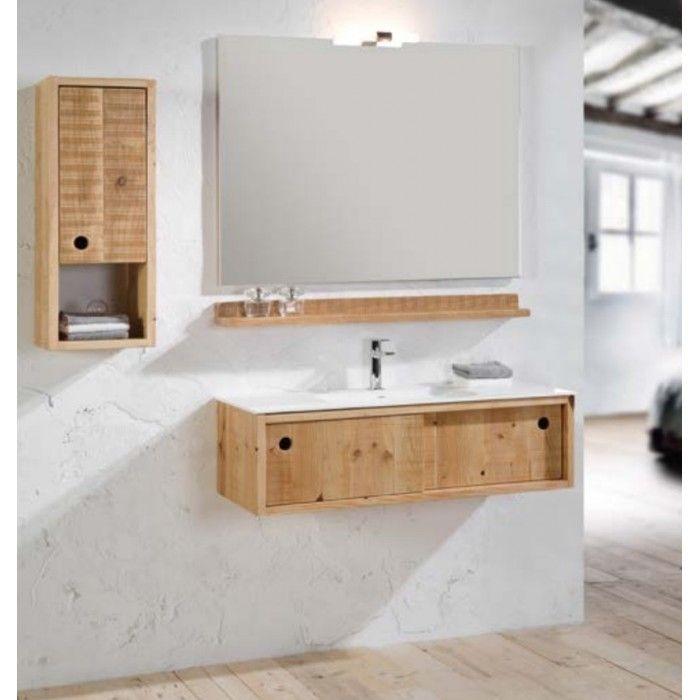 Meuble bain suspendu Femty bois et simple vasque centrée ou desaxée