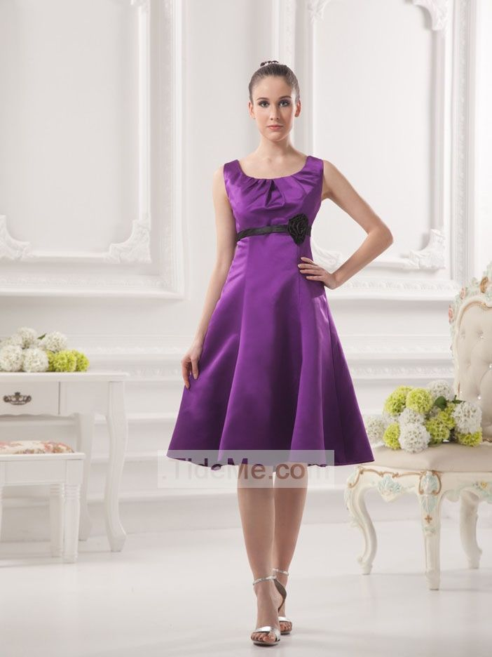 Fashion Purple Satin with Black Belt A Line Straps Cheap Short Prom Dress Bridesmaid Dress