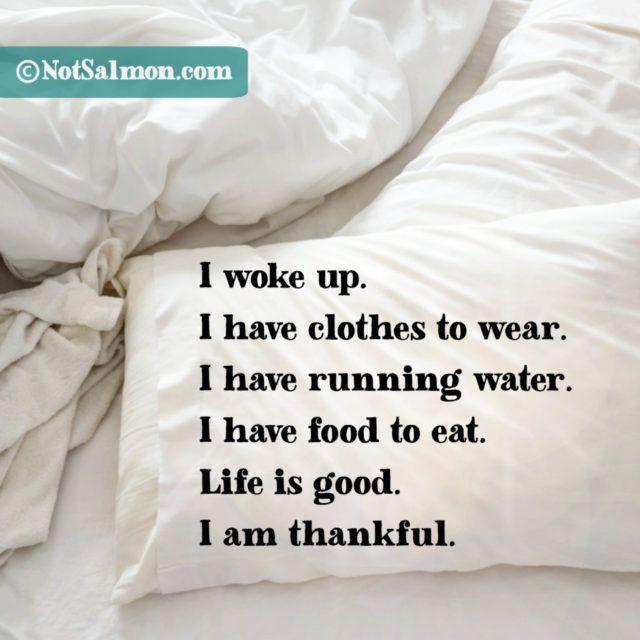 I woke up. I have running water. I have food to eat. I am thankful.