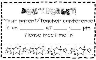 parent teacher conferences printables