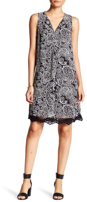 Daniel Rainn Sleeveless Printed Lace Hem Dress (Petite)