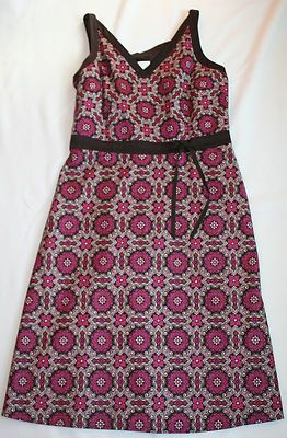 ANN TAYLOR LOFT Womens 12 Dress Sundress Print Pink Brown Sleeveless Easter