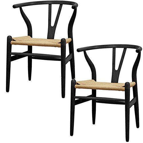 Nicer Furniture Set Of 2 Wishbone Chairs, Black Nicer Fur