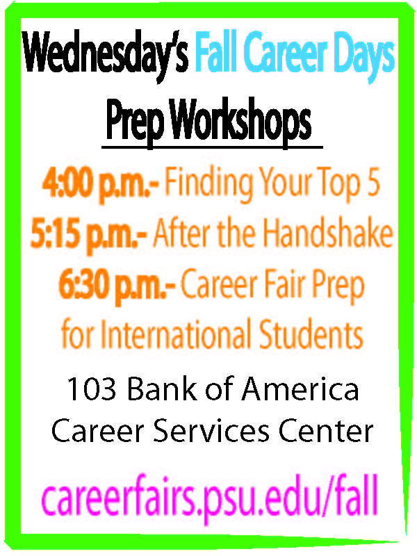 Wednesday Fall Career Days Prep in the Bank of