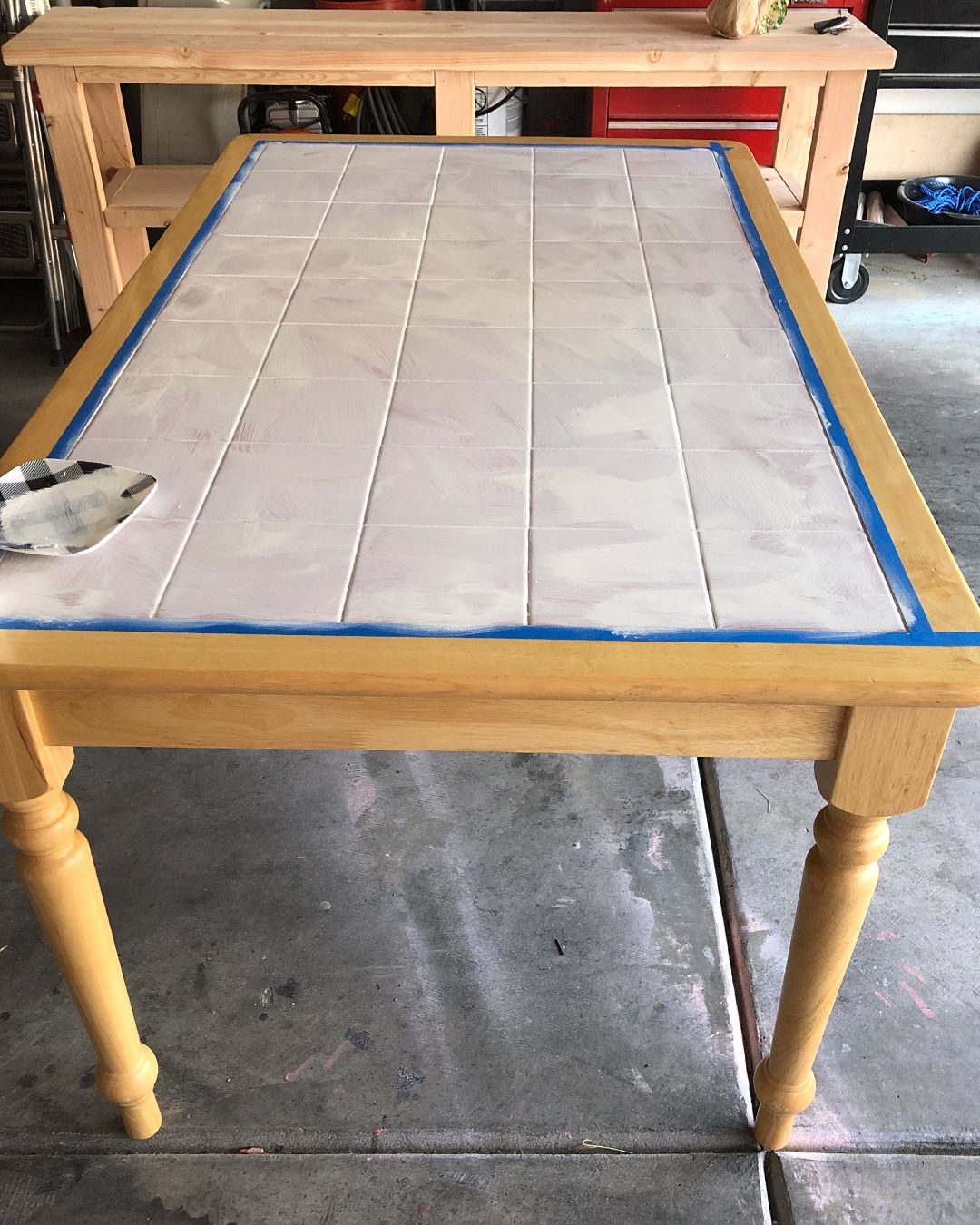 how to paint a dated tile table tile