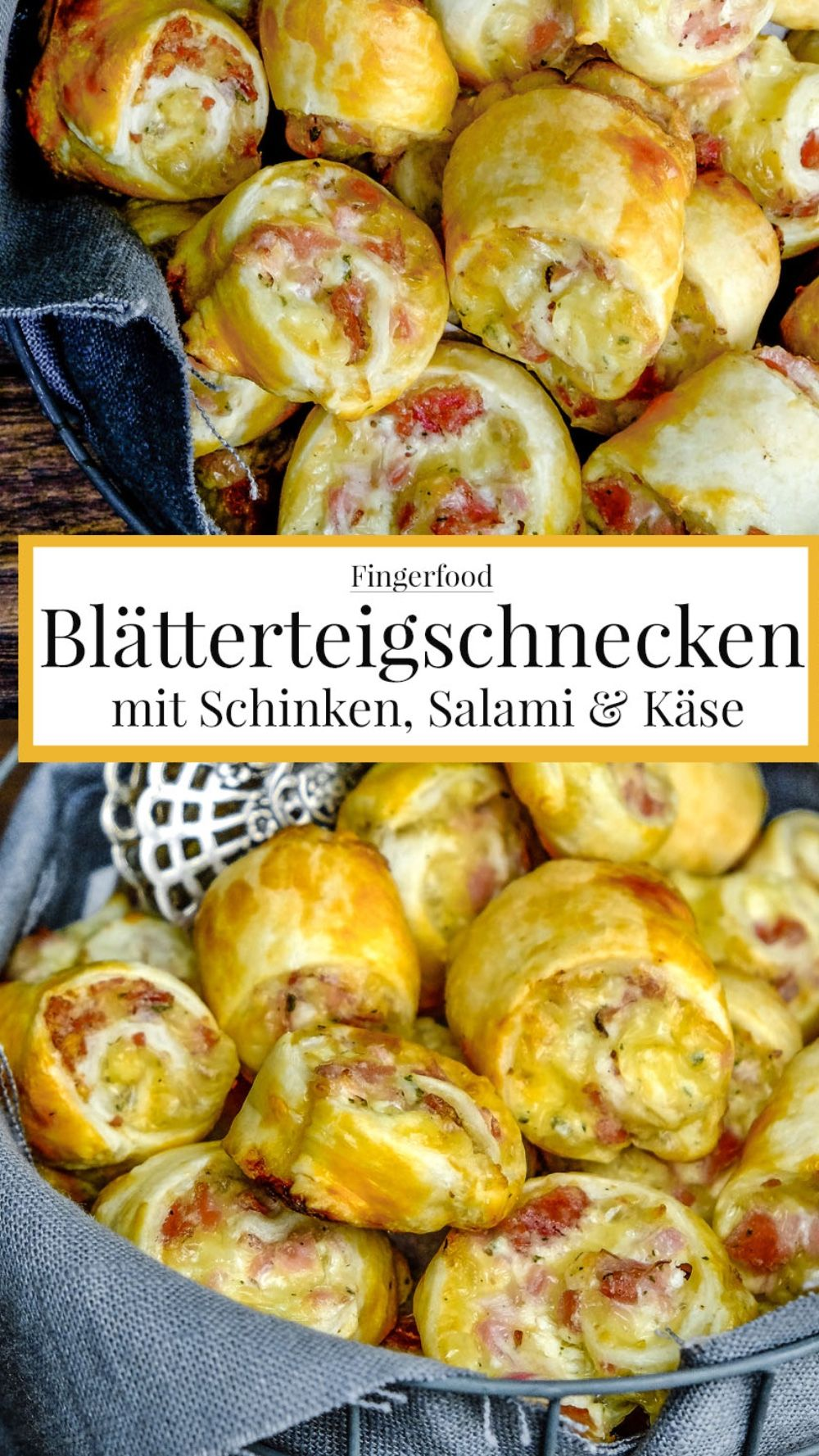 Blätterteigschnecken mit Schinken, Salami & Käse #fingerfoodrezepteschnelleinfach