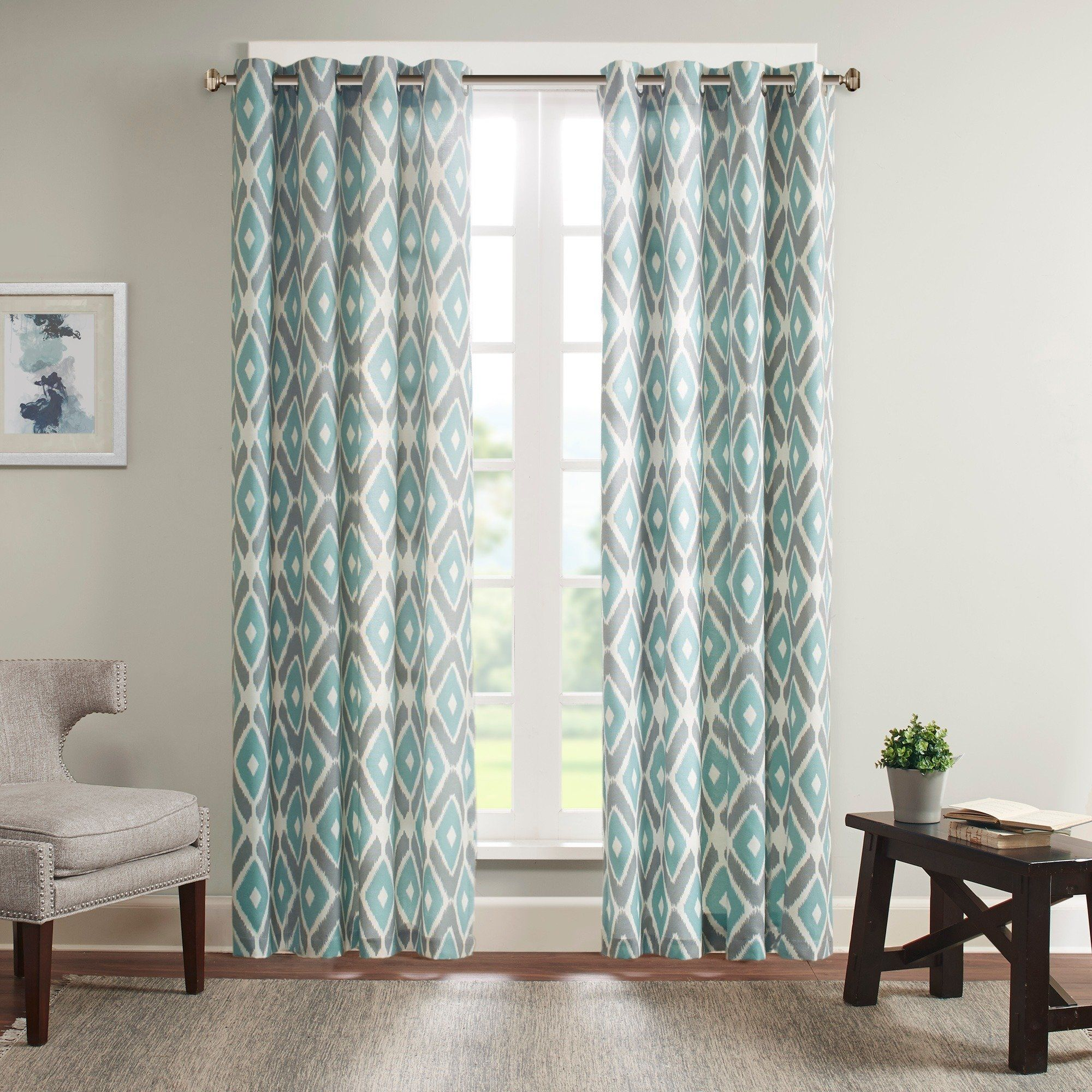 Madison Park Stetsen Diamond Printed Single Window Curtain