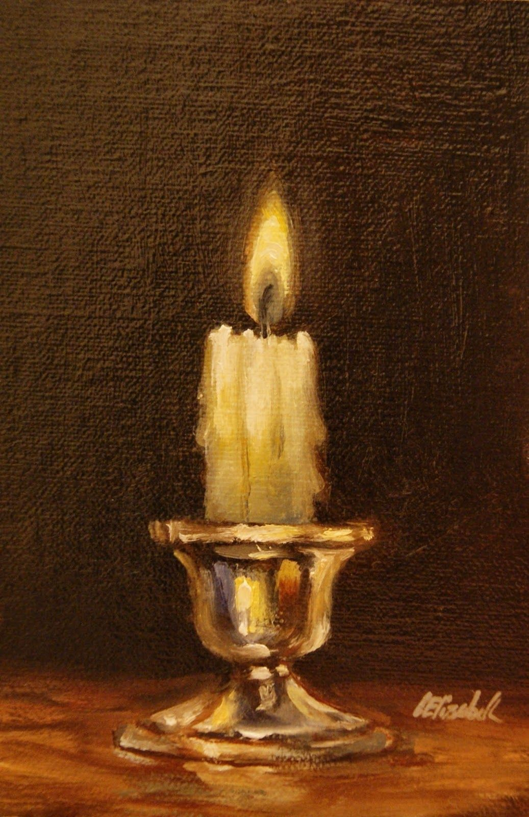Candle On Silver Holder Oil On 4 X6 Linen Panel Still Life Oil Painting By Carolina Elizabeth Oilpaintingstilllife Oilpaintingflowers Still Life Oil Painting Oil Painting Flowers Candle Art