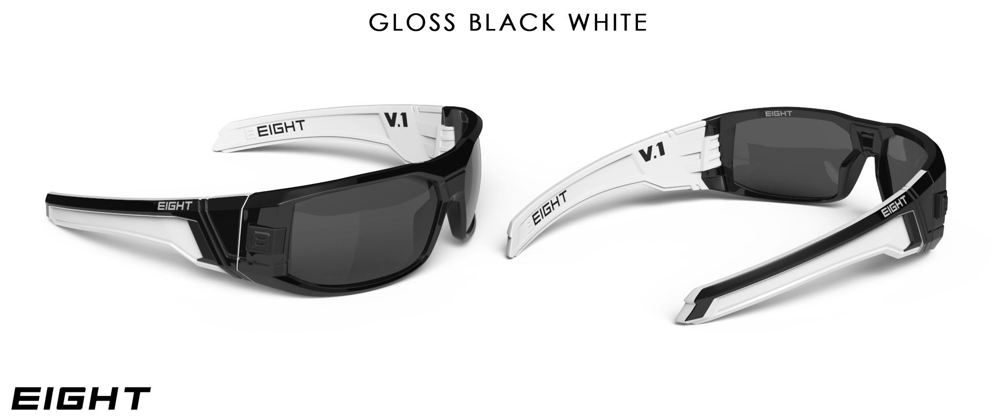 939fabd0ae Gloss Black   White V.1 sunglasses from EIGHT White Sunglasses