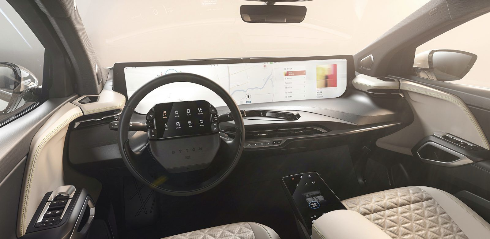 Byton Unveils Interior With Insane Screen Real Estate For Its Production Electric Car Byton A Well Funded Cars Electric Cars Electric Car All Electric Cars