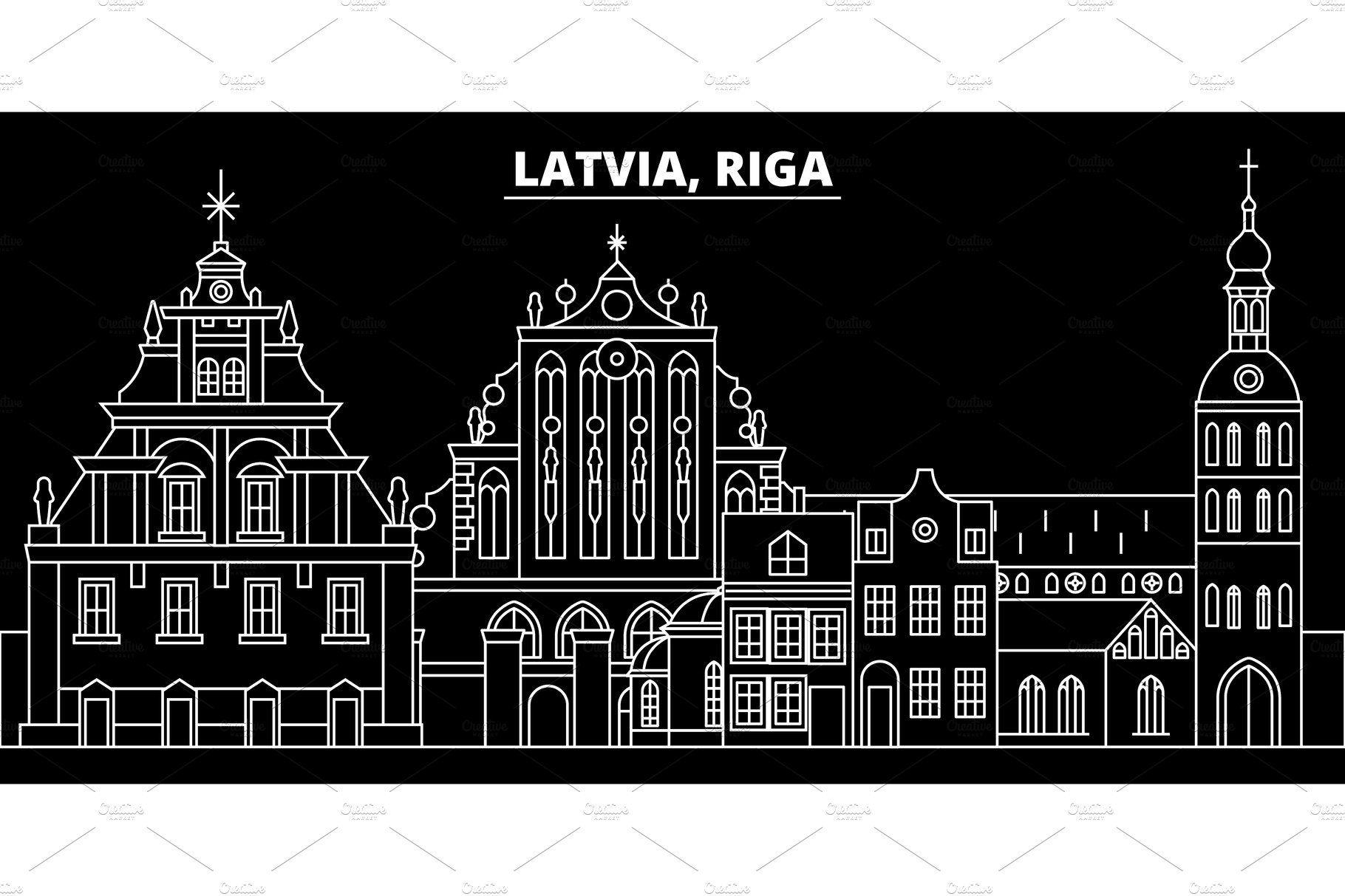 Riga silhouette skyline. Latvia Riga vector city