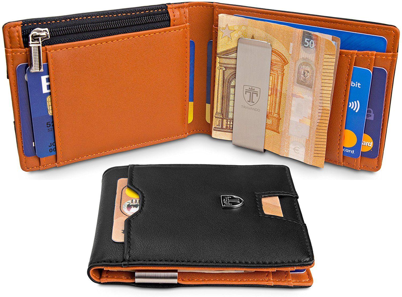 Best Gift Men/'s RFID Blocking REAL Leather Zipper Pocket Slim Minimalist Wallet