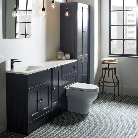 Burford Slate Grey Fitted Bathroom Furniture Fitted Bathroom Fitted Bathroom Furniture Monochrome Bathroom