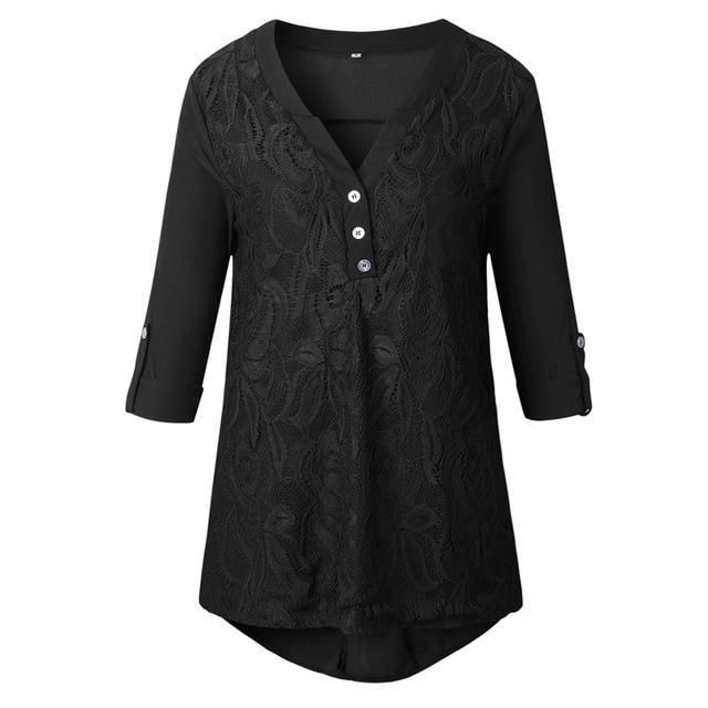 d43163b3594 Embroidery Lace Chiffon Blouse Shirt Women Tops 2017 Autumn Winter Fashion  Sexy Casual Long Sleeve Ladies Top Plus Size S-3XL