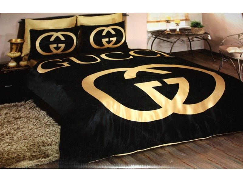 Marvelous-Black-And-Gold-Bedroom-Design-Gucci-Bedding-Set ...