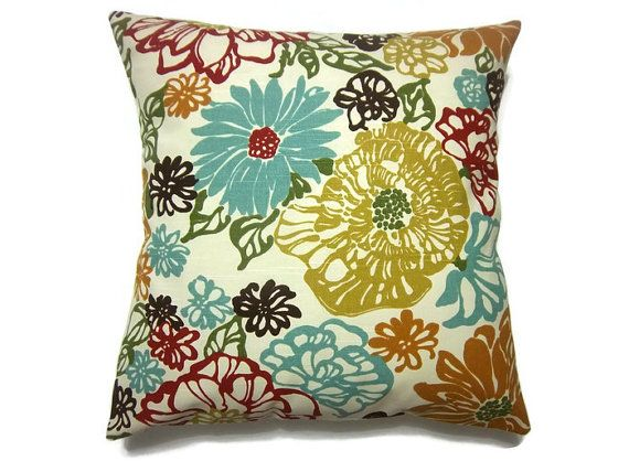 Decorative Pillow Cover Multicolored Red Orange Turquoise Pumpkin Brown Olive Green Gold T Green Pillows