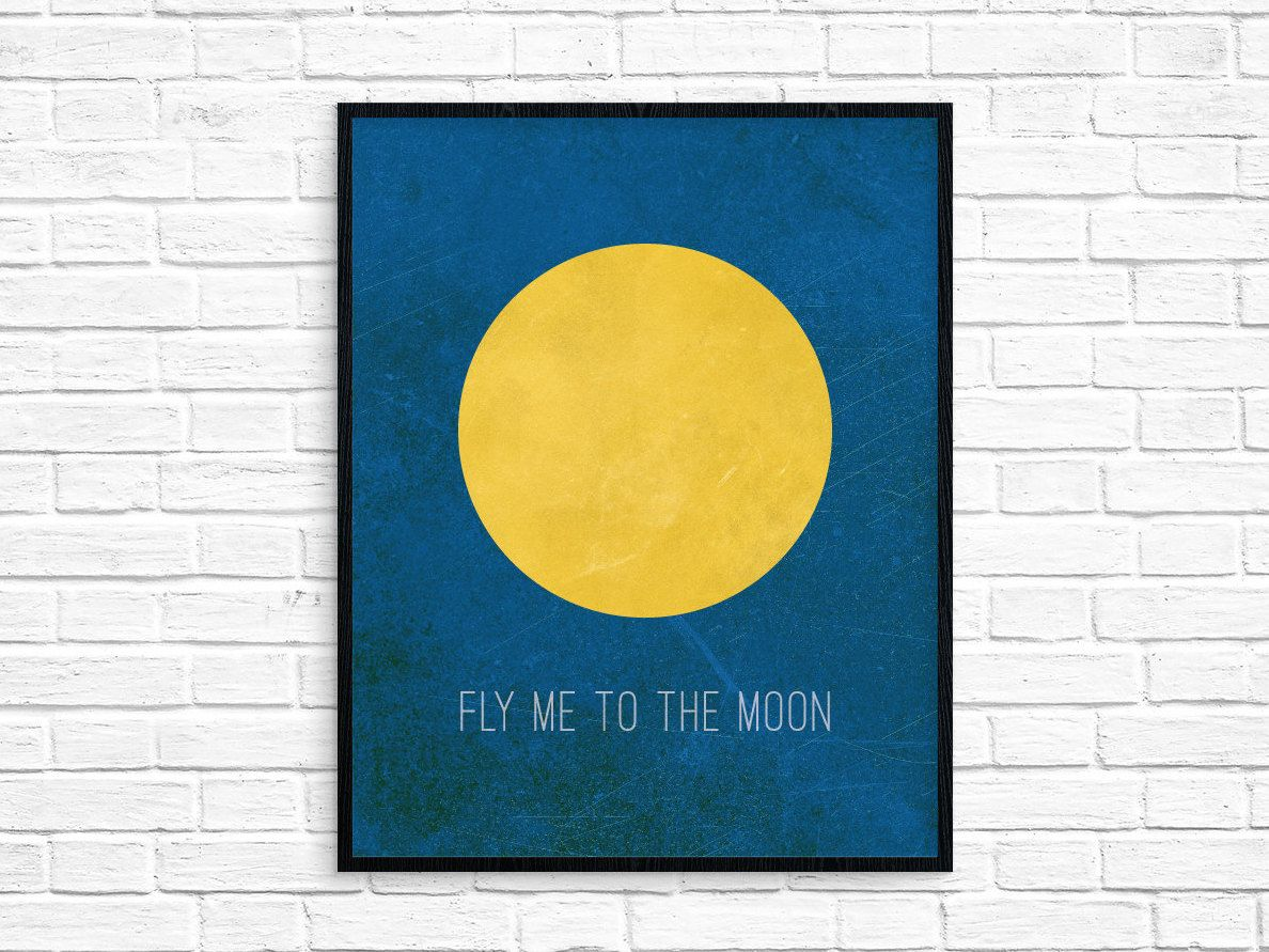 Fly me to the Moon/Art Print/Wall Art/Night Sky/Moon/Room Decor/Kids ...