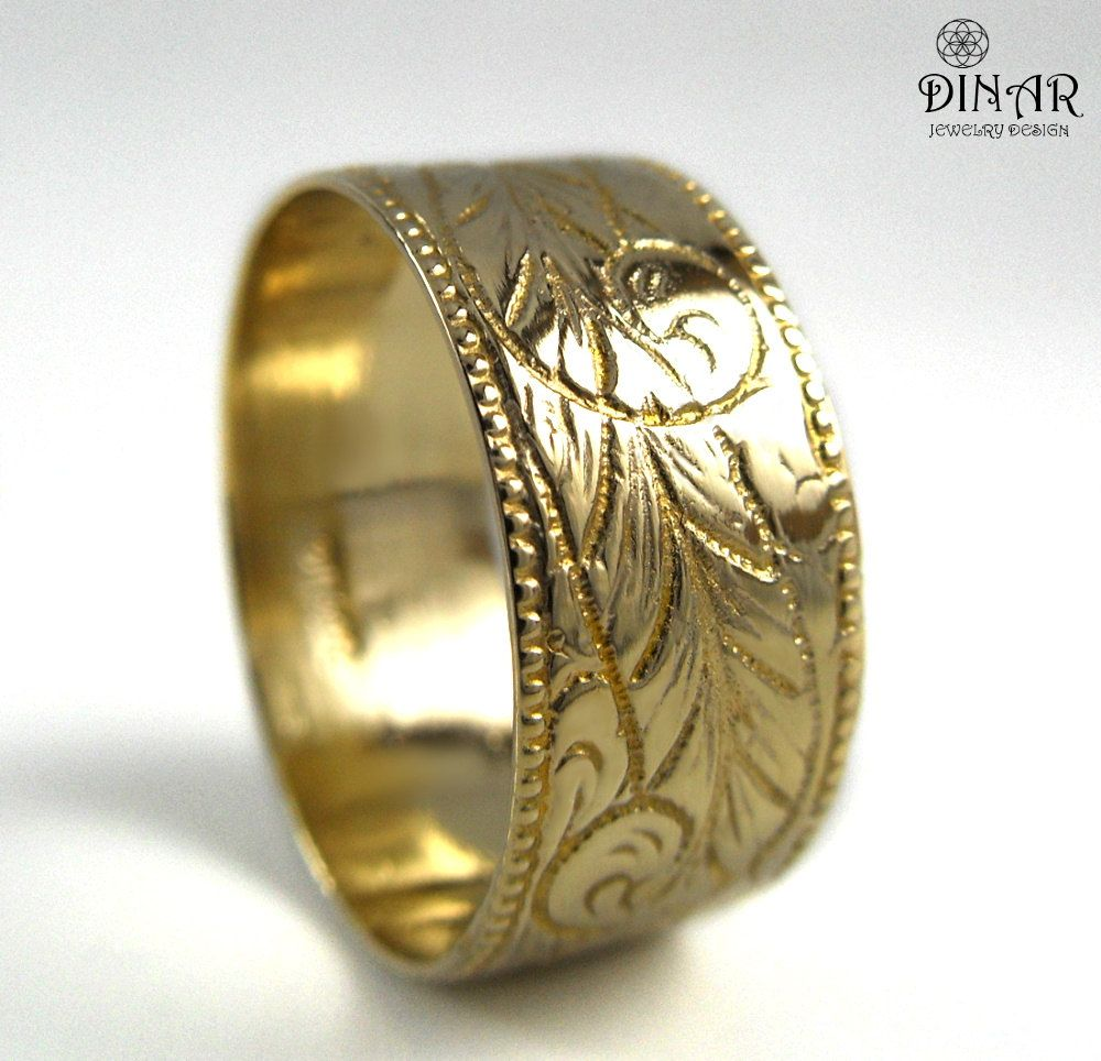 Fabulous k Gold wedding band wide wedding ring band Engraved feather ring solid gold