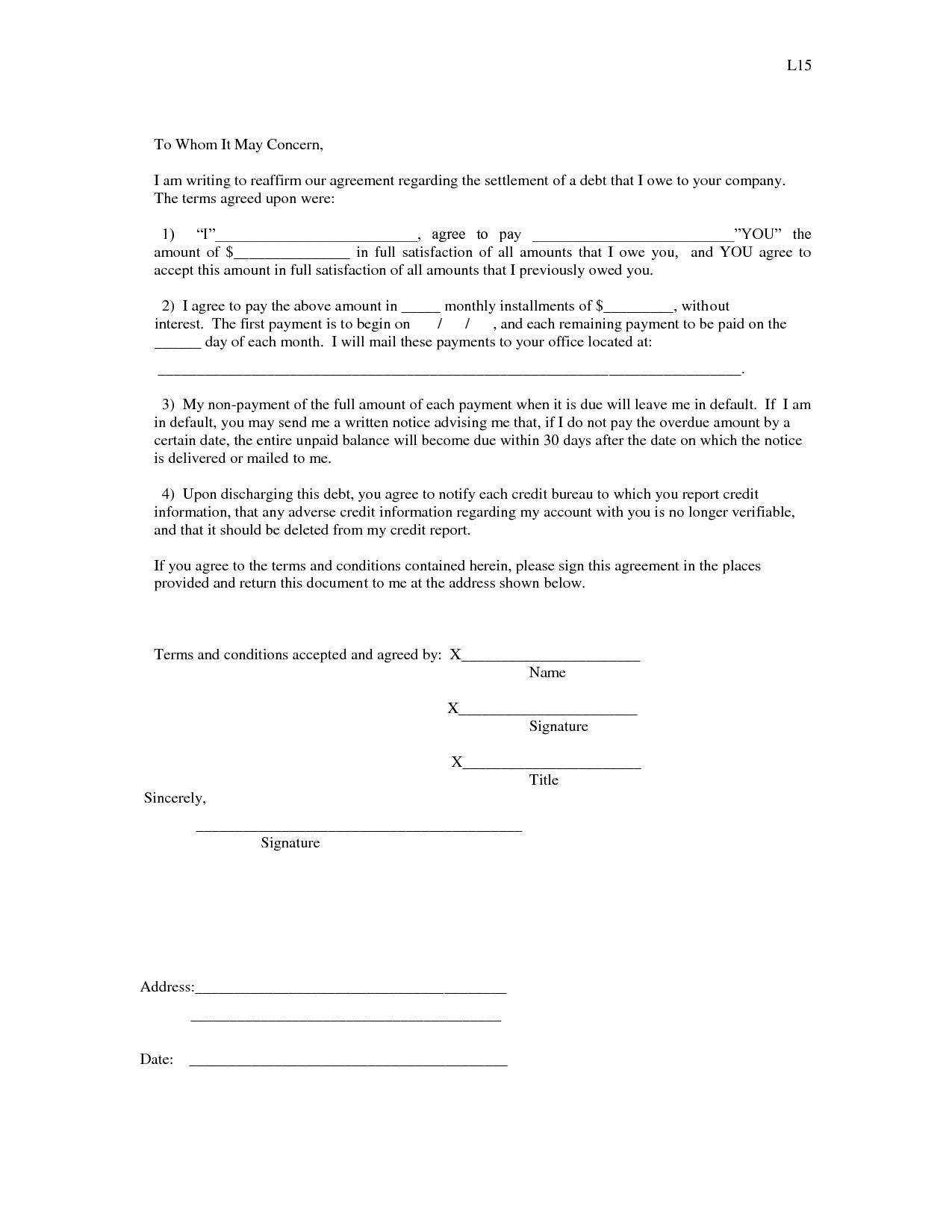 Credit Report: Settlement Agreement Credit Report - i owe you ...