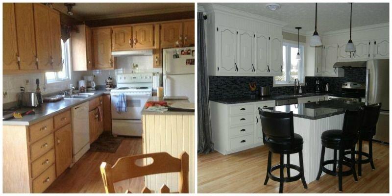 cuisine avant apr s avec chalk paint peinture la craie. Black Bedroom Furniture Sets. Home Design Ideas