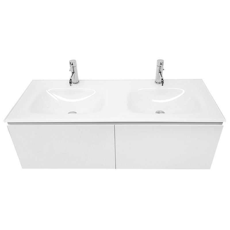 Cibo Design 1200mm White Seamless Double Basin Vanity With ...