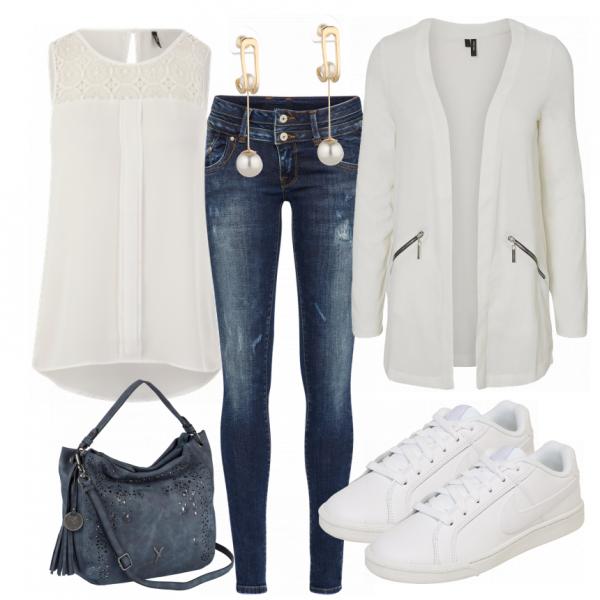fa28c8236cff White Damen Outfit - Komplettes Freizeit Outfit günstig kaufen ...