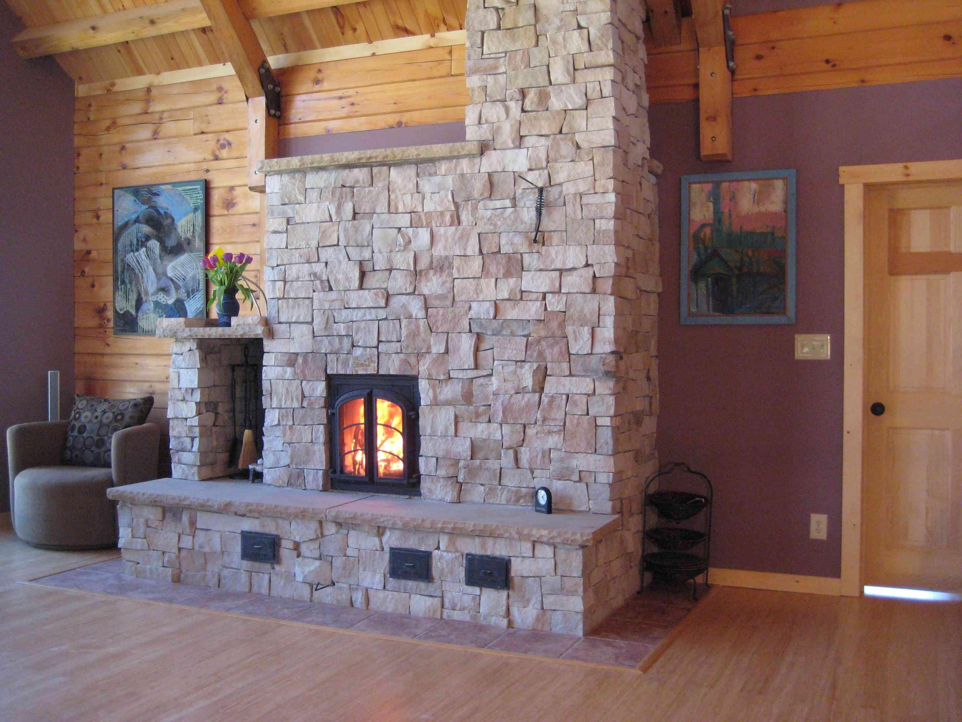 Masonry Heater Stone Finish Diy Stove Fireplace
