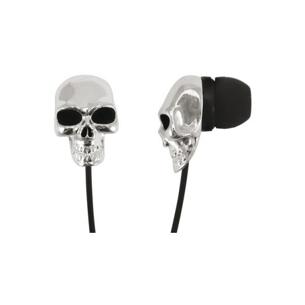 Ecouteurs DIVERS Silver Skulls (36 CAD) ❤ liked on Polyvore featuring accessories and tech accessories