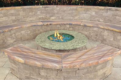 Cambridge Gas Burning Fire Pits  Pyzique & Olde English Round Fire Pits Available With Cast Stone (Bluestone & Chestnut) Or Granite Ring (Black Uba Tuba & Venetian Gold)