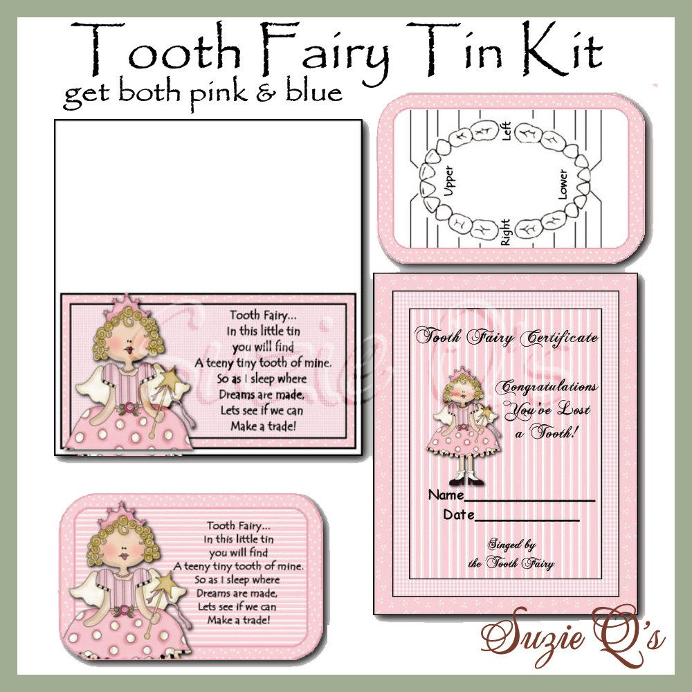 Free printable tooth fairy certificate template gallery tooth fairy kit in pink and blue background digital printable tooth fairy kit in pink and yelopaper Image collections