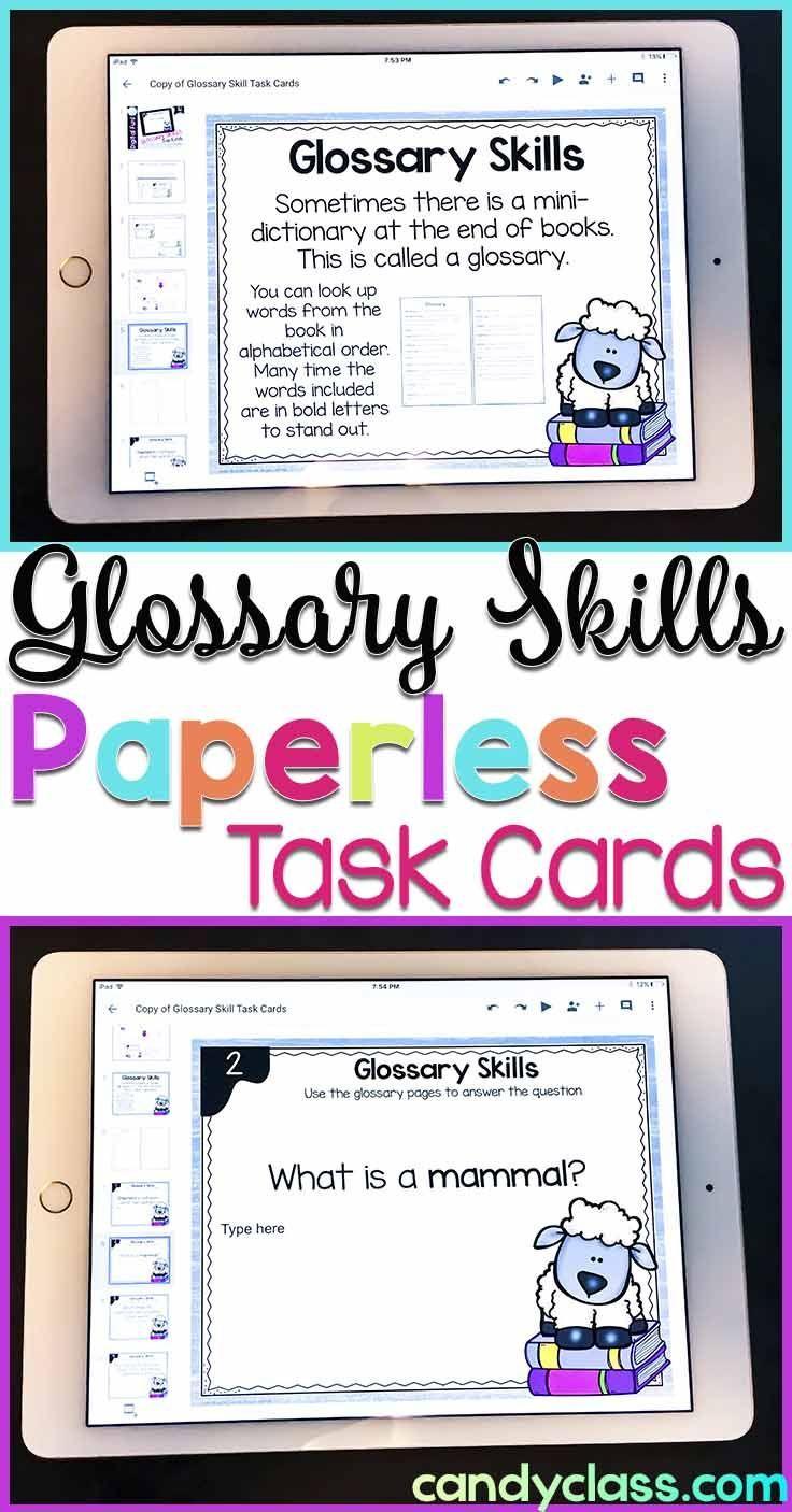 Glossary skills digital task cards 2nd grade google