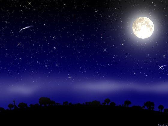 Cielo Estrellado Con Luna!