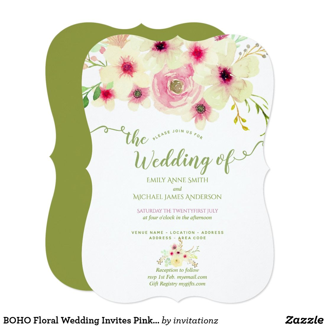 BOHO Floral Wedding Invites Pink Sage Green | Wedding