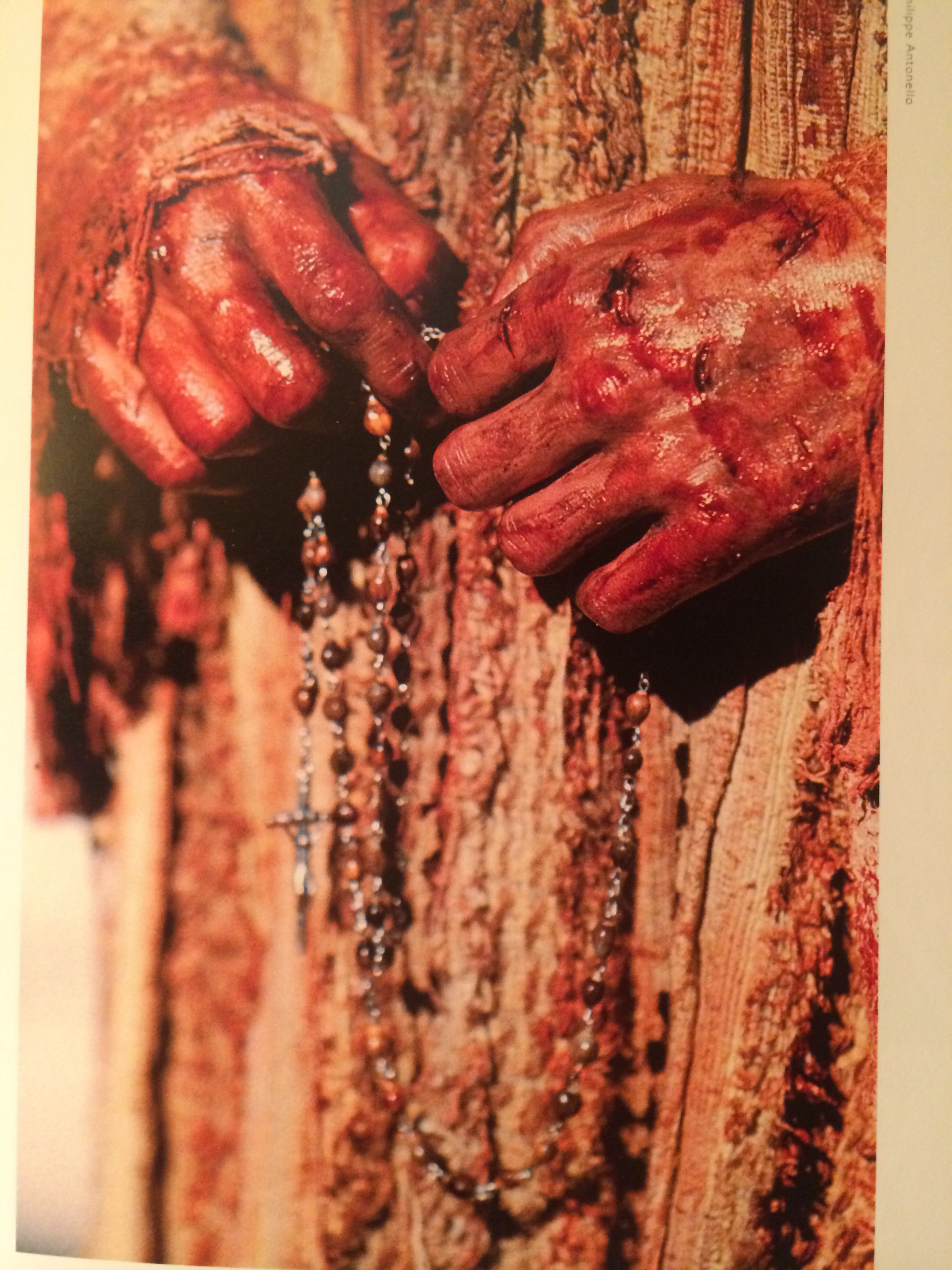 Hands of Jim Caviezel --Jesus--praying the rosary while filming The Passion