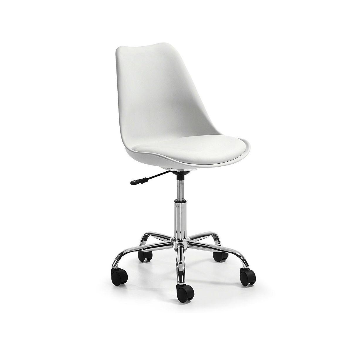 Chaise De Bureau A Roulette Design Orlando Blanche De Profil Blanc